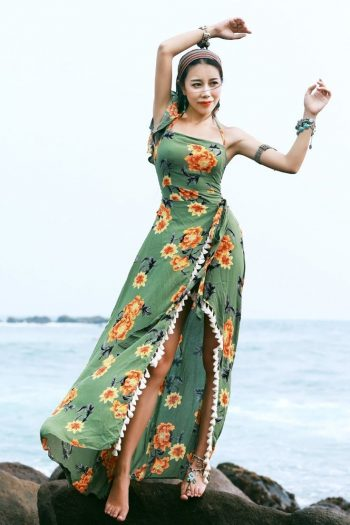 Bohemian Floral Asymmetrical Dress