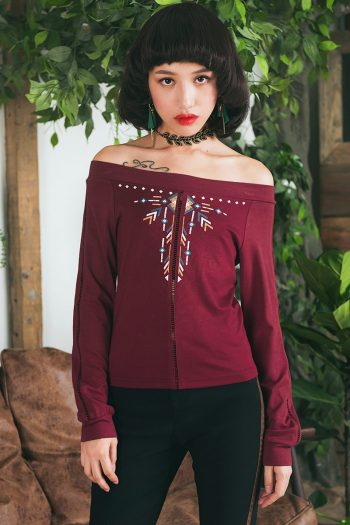 Off Shoulder Ethnic T-Shirt