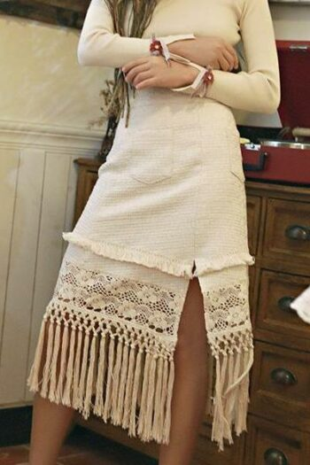 High Waist Woolen Fringe Skirt