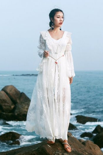 White Lace Bohemian Fairy Dress