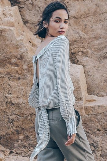 Off Shoulder Striped Shirt