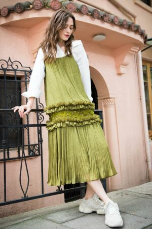 Lace Pleated Strap Dress