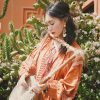 Ethnic Style Embroidered Orange Dress