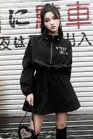 Black Windbreaker Short Dress
