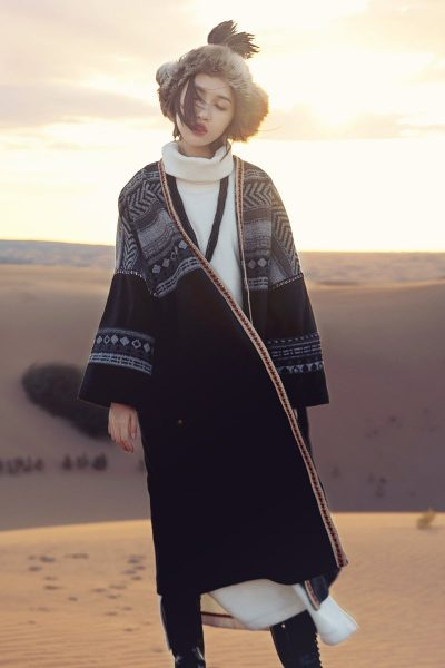 Ethnic Style Woolen Long Coat