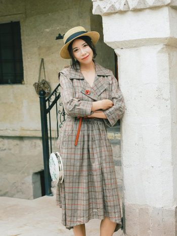 V-Neck Plaid Long Sleeve Dress