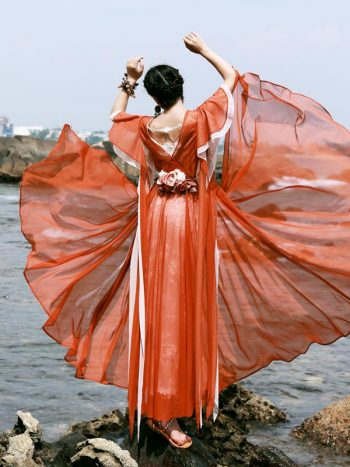 Bohemian Orange Fairy Dress