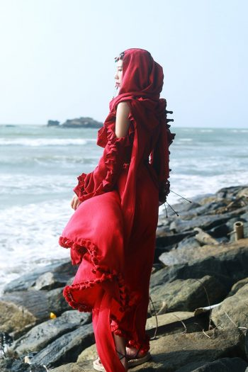 Red Bohemian Ruffle Dress