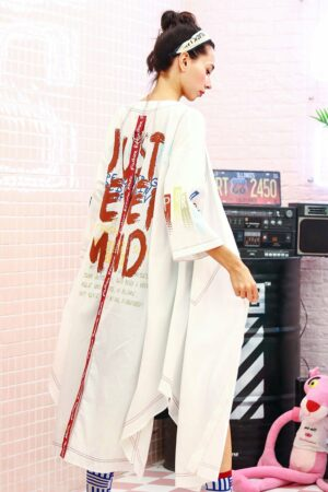 Hippie Style White Long Jacket