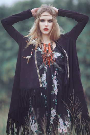 Hippie Style Embroidered Fringe Coat