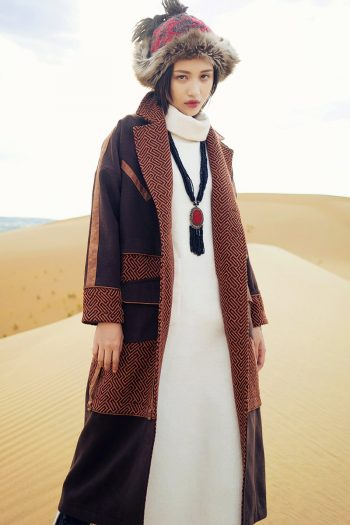 Ethnic Style Long Woolen Coat
