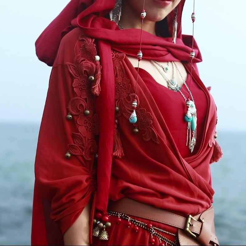 Ethnic Red Two-Piece Dress