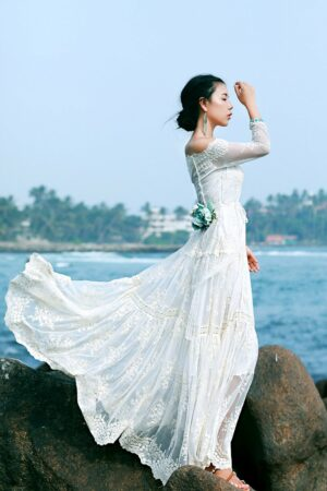 Off Shoulder White Lace Maxi Dress