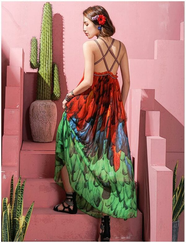 Backless Feather Print Dress