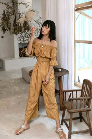 Off Shoulder Yellow Jumpsuit