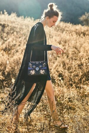 Black Leather Embroidered Bag