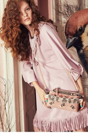 Embroidered Sheepskin Pink Bag