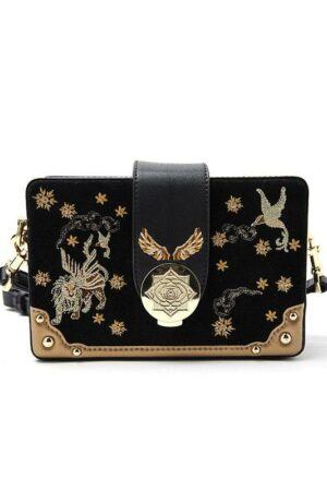 Embroidered Square Suede Bag