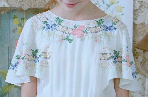 Floral Embroidered Pleated Chiffon Dress