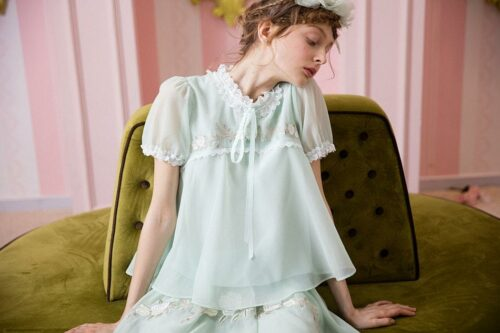 Mint Green Embroidered Elegant Shirt
