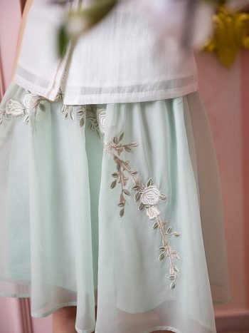 Mint Green Embroidered Elegant Skirt