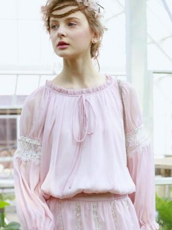 Powder Pink Lantern Sleeve Shirt