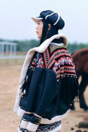 Black Embroidered Fringe Winter Jacket