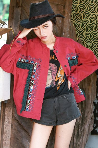 Hippie Style Denim Red Jacket