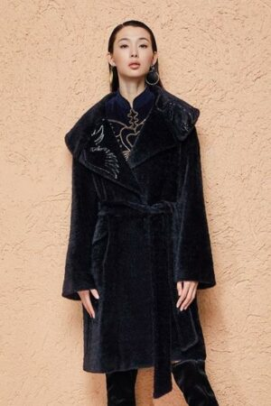 Black Embroidered Plush Coat