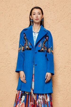 Blue Embroidered Woolen Coat