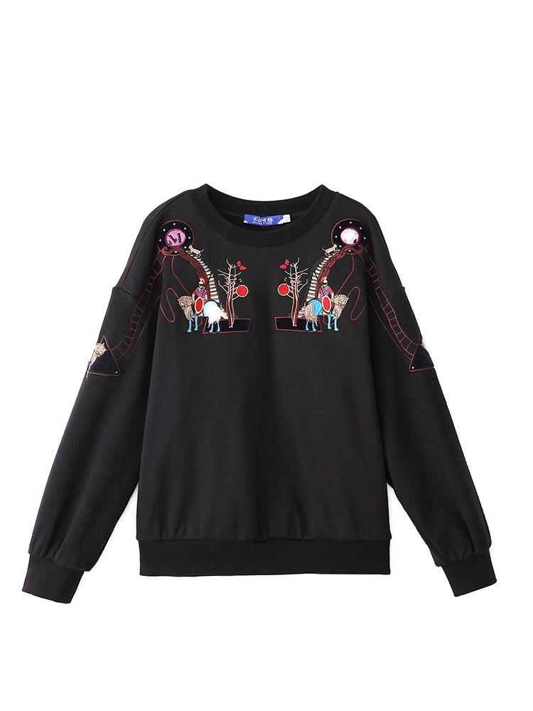 Black Embroidered Sweater