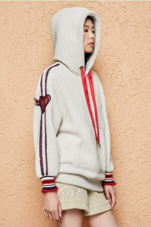 Red Heart Embroidered Hooded Sweater