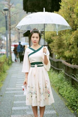 Chinese Style Embroidered Floral Dress