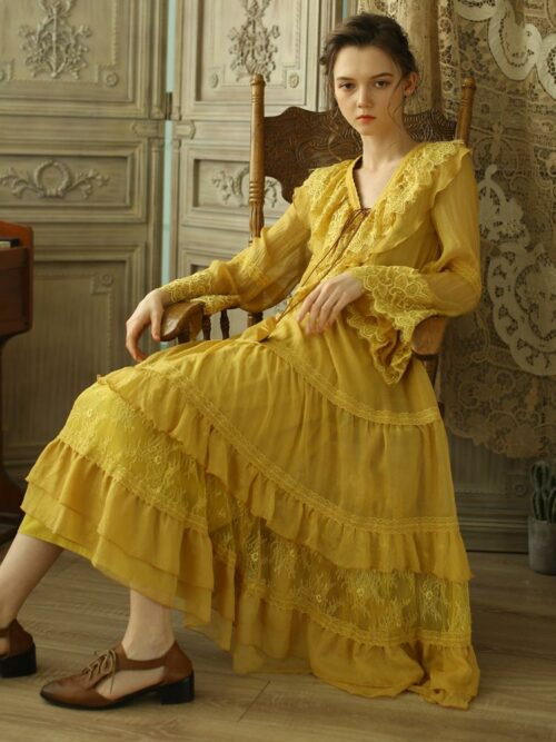 Vintage Yellow Maxi Dress