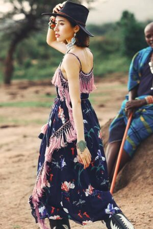 Bohemian Blue Floral Fringe Dress