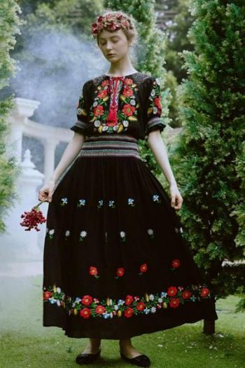 Black Floral Embroidery Vintage Dress