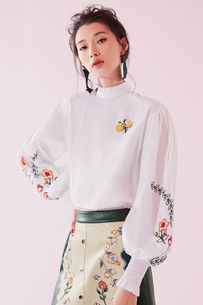 Floral Sleeve Embroidered Top