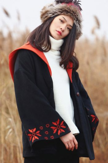 Ethnic Style Hooded Short Wool Coat