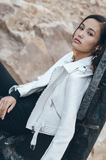 White Short Leather Jacket