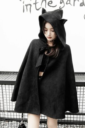 Hooded Cape Coat With Cat Ears