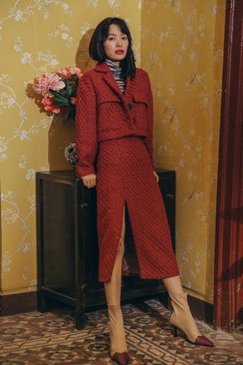Red Woolen Two-Piece Suit