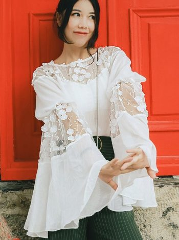 Trumpet Sleeve White Boho Blouse