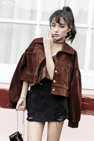 Dark Brown Velvet Short Jacket