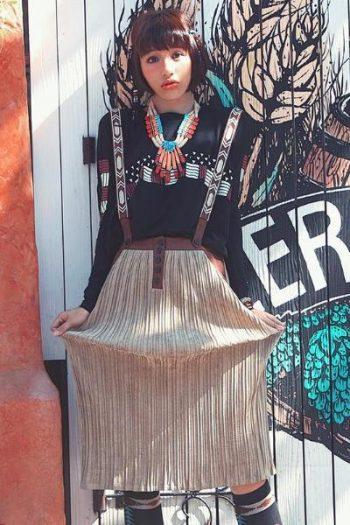 Ethnic Style Pleated Skirt With Straps