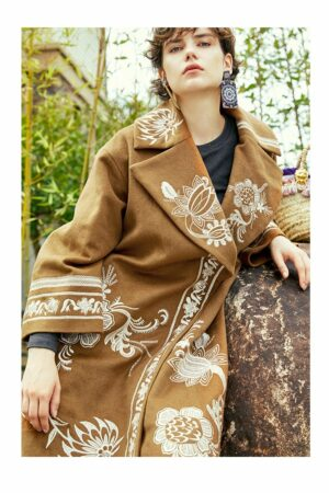 Floral Embroidered Woolen Coat