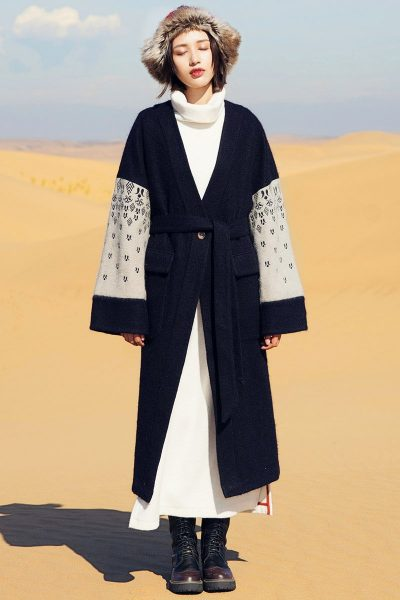 Ethnic Style Embroidered Wool Coat