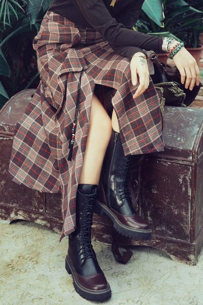 Ethnic Style Asymmetrical Plaid Skirt