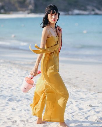 Resort Wide Leg Yellow Jumpsuit