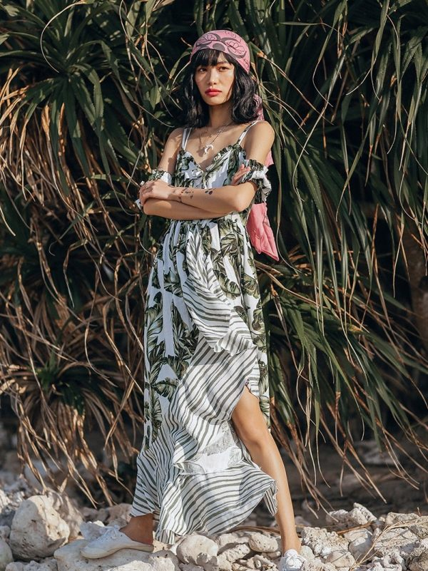 Bohemian Asymmetrical Flowy Beach Dress