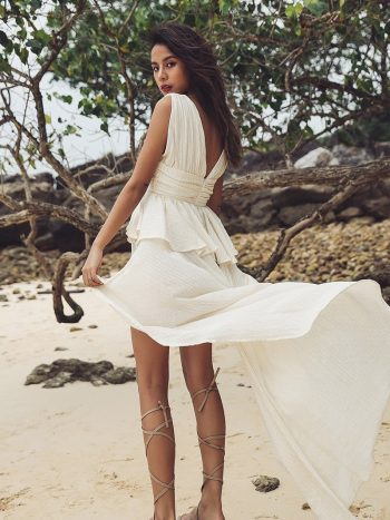 Asymmetrical Deep V-Neck Beach Dress